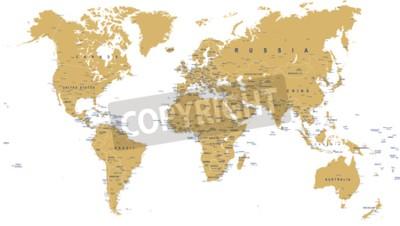 Fotomural Golden World Map - fronteras, países, ciudades y globos - ilustración