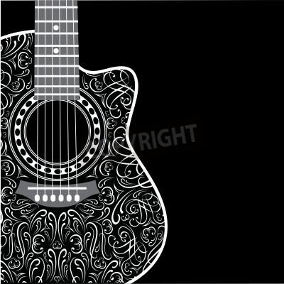 Fotomural Gradiente de fondo con la guitarra acortada y adornos con estilo