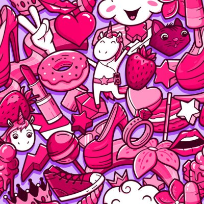 Fotomural Graffiti de patrones sin fisuras con garabatos de estilo de niña. Fondo del vector con los elementos locos del poder de la niña infantil. Moda collage de estilo lineal con iconos de arte callejero ext