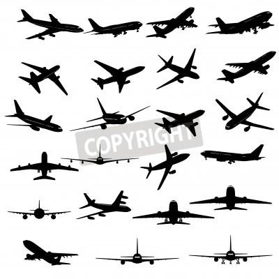 Fotomural Gran colección de diferentes siluetas de avión.