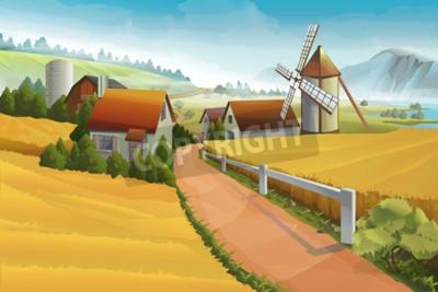 Fotomural Granja paisaje rural de fondo