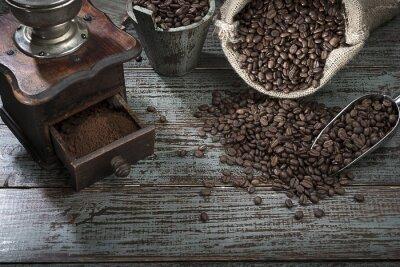 Fotomural Granos de café y amoladora desde arriba