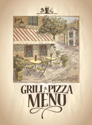 Fotomural Grill y el menú de pizza con la ilustración gráfica de un café de la calle.