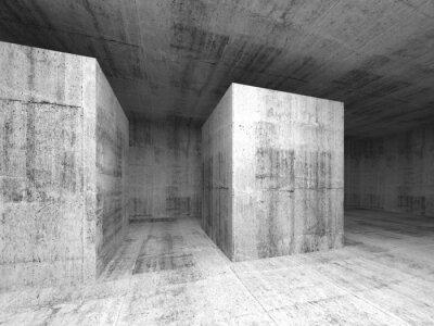 Fotomural Gris sala abstracto oscuro vacío de concreto, interior 3d