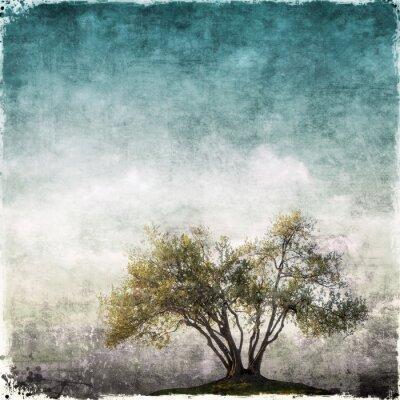 Fotomural Grunge paisaje con un solo árbol