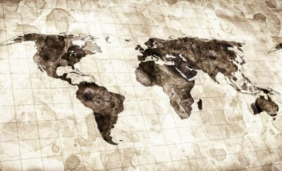 Fotomural grunge stained map of the world