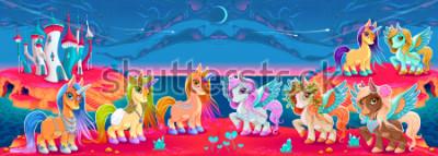 Fotomural Grupos de unicornios y pegaso en un paisaje de fantasía. Ilustración vectorial de dibujos animados