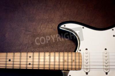 Fotomural Guitarra eléctrica cuerpo y cuello detalle sobre fondo de madera cosecha mirada