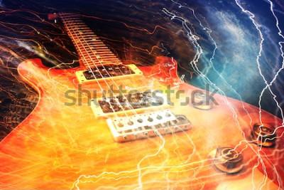 Fotomural Guitarra eléctrica rodeada de relámpagos