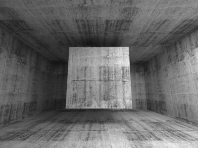 Fotomural Habitación gris abstracto interior. 3d fondo con el cubo de volar