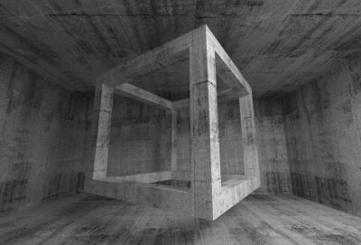 Fotomural Habitación gris oscuro abstracto hormigón interior. 3d cubo de volar