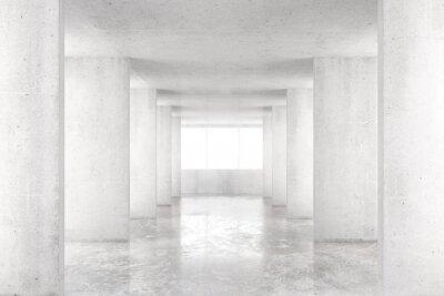 Fotomural Habitación vacía con paredes de hormigón, piso de hormigón y gran ventana, 3