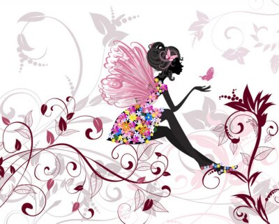 Fotomural Hada de la flor con las mariposas