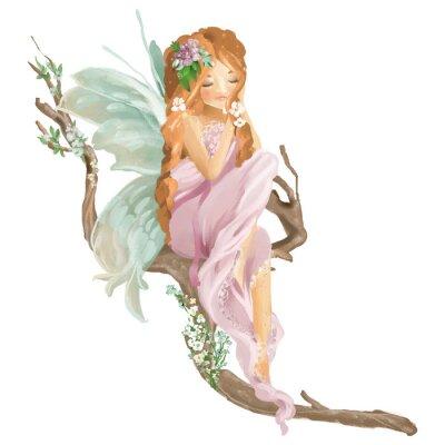 Fotomural Hada del petróleo pintada a mano hermosa que se sienta en la rama de madera vieja con el ramo floral, guirnalda de las flores aislada en blanco