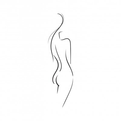 Fotomural Hand-drawn Beautiful nude  young woman isolated on white background.Line illustration.Beauty Logo.Stock vector illustration.