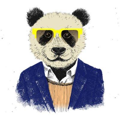 Fotomural Hand drawn dressed up hipster panda