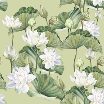 Fotomural Hand drawn watercolor seamless pattern with white lotus flowers and lotus leaf