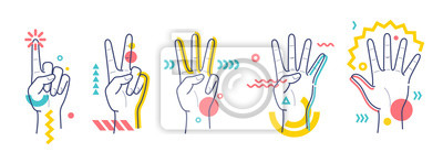 Fotomural Hands showing numbers one, two, three, four, five. Flat / line style whith colorful small geometric particle and dots.