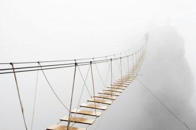 Fotomural Hanging bridge in fog