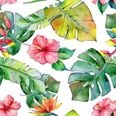 Fotomural Hawaii tropical deja el modelo en un estilo de la acuarela. Flor silvestre de la acuarela para el fondo, textura, modelo del envoltorio, marco o frontera.