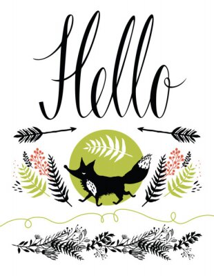 Fotomural Hello postcard cover design. Happy fox and forest herbs, arrows