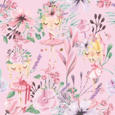 Fotomural Hermosa acuarela floral de patrones sin fisuras con chicas lindas de ballet, bailarinas.
