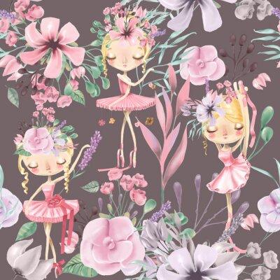 Fotomural Hermosa acuarela floral de patrones sin fisuras con chicas lindas de ballet, bailarinas. Rosas abstractas, peonía, lilas y ramas sobre fondo oscuro