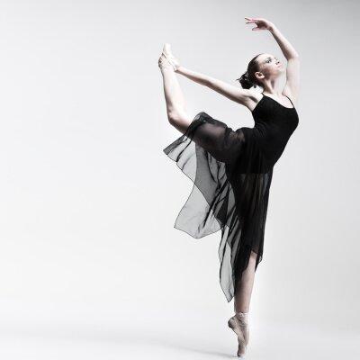 Fotomural Hermosa bailarina posando en el estudio de fondo