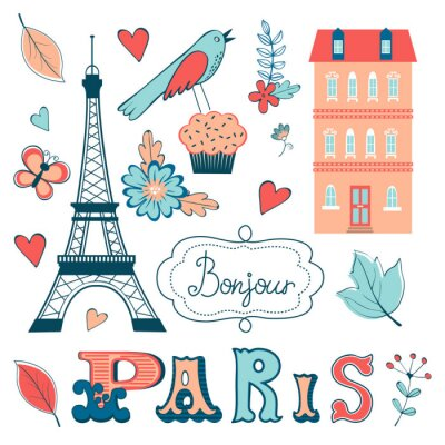 Fotomural Hermosa colección de elementos gráficos relacionados con París
