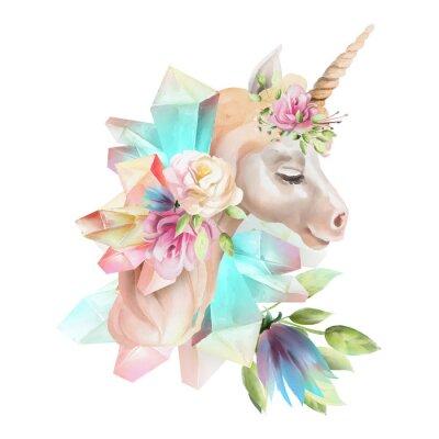 Fotomural Hermosa, linda, acuarela cabeza de unicornio con flores, corona floral, ramo y cristales mágicos aislados en blanco