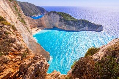 Fotomural Hermosa playa de Navagio (playa de los naufragios) en la isla de Zakynthos, Grecia