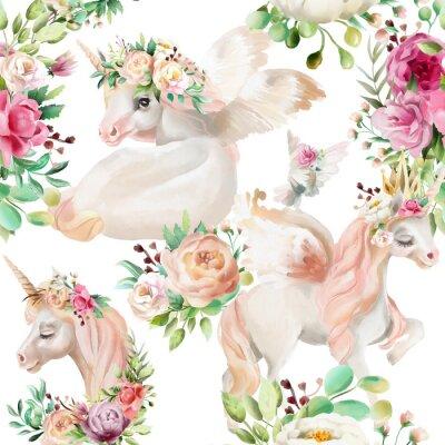 Fotomural Hermosa princesa de unicornios de acuarela, pegaso en corona de oro y floral, peonía de flores y ramos de rosas y paloma en patrón transparente de fondo blanco