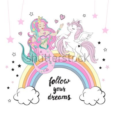 Fotomural Hermosa unicornio y sirena con letras siguen tus sueños