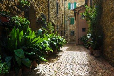 Fotomural Hermosas calles de la aldea toscana medieval en Italia, Pienz
