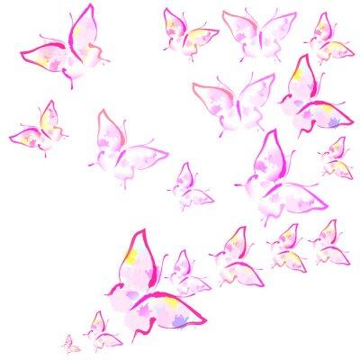 Fotomural hermosas mariposas rosadas, aisladas en un blanco