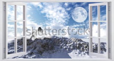 Fotomural Hermoso paisaje de montaña, la vista desde la ventana.