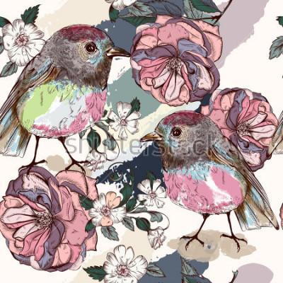 Fotomural Hermoso patrón botánico en estilo vintage con pájaros y rosas
