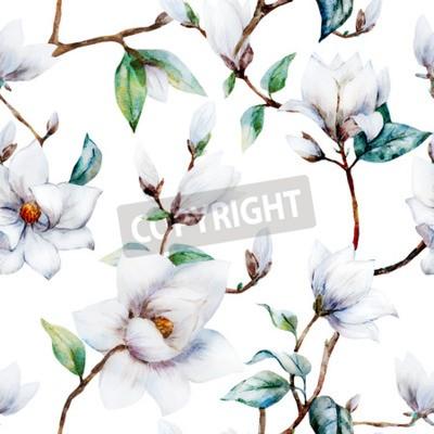 Fotomural Hermoso patrón de trama con magníficas flores de magnolia de acuarela