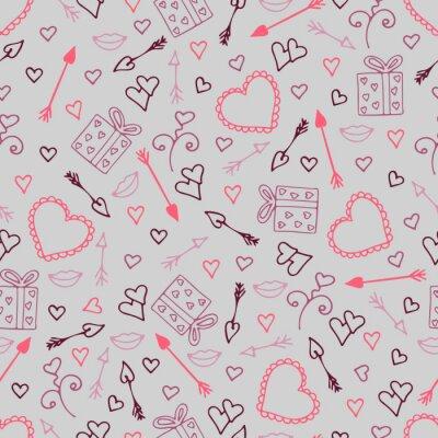 Fotomural Hermoso patrón transparente con corazones, flechas para los amantes.