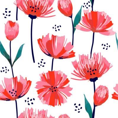 Fotomural Hermoso verano freshy moda flor silvestre flor rosa tulipán de patrones sin fisuras en un estilo de dibujo a mano