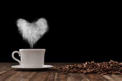 Fotomural Herz aus Dampf en la barra de café