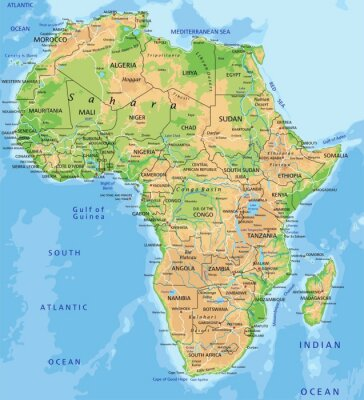 Fotomural High detailed Africa physical map with labeling.