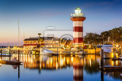 Fotomural Hilton Head, Carolina del Sur, EE.UU. Faro en el crepúsculo