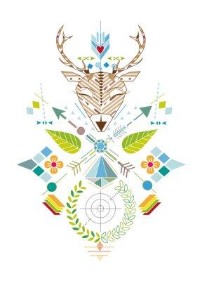 Fotomural Hirschjagd - Grafisches Muster con Hirschkopf, Zielscheibe, Pfeile, Blätter und Blüten