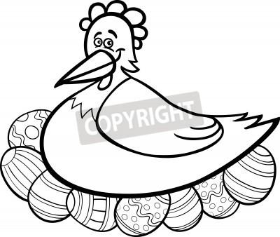 Historieta blanco y negro ilustración de gallina funny farm eclosión ...