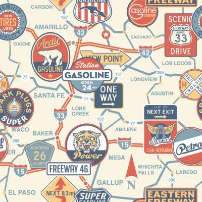 Fotomural Hoja de ruta de vector Vintage con letreros - sin patrón