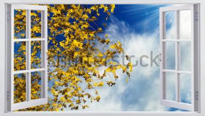 Fotomural Hojas amarillas de otoño en el cielo