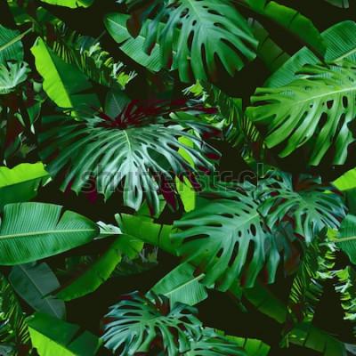 Fotomural Hojas de flores tropicales de patrones sin fisuras de color verde sobre un fondo negro de la selva. Foto natural collage color verde. Diseño artístico para estampado floral y papel pintado moderno.
