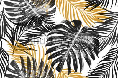 Fotomural Hojas de palmeras tropicales, hojas de selva. Fondo inconsútil hermoso del modelo floral tropical abstracto de moda inconsútil del vector