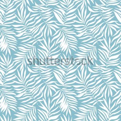 Fotomural Hojas de patrones sin fisuras con palmeras tropicales. Hermoso estampado con plantas exóticas dibujadas a mano. Traje de baño de diseño botánico. Ilustración vectorial